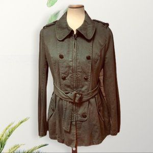 Ambition Military Belted Zipper Jacket Olive LG